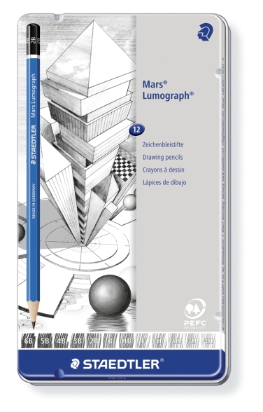LÁPICES DE GRAFITO MARS LUMOGRAPH 100 ESTUCHE DE METAL 100-G12 6B, 5B, 4B, 3B, 2B, B, HB, F, H, 2H, 3H, 4H 12