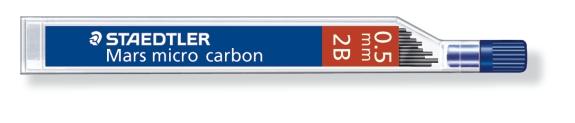 MINA MICRO CARBÓN DE 0.3 0.5 0.7 Y 0.9 mm (12 unidades) ST250052B 2B GRUESO DE MINA 0.5 mm