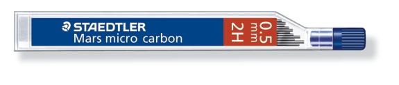 MINA MICRO CARBÓN DE 0.3 0.5 0.7 Y 0.9 mm (12 unidades) ST250052H 2H GRUESO DE MINA 0.5 mm