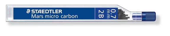 MINA MICRO CARBÓN DE 0.3 0.5 0.7 Y 0.9 mm (12 unidades) ST250072B 2B GRUESO DE MINA 0.7 mm