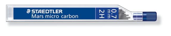 MINA MICRO CARBÓN DE 0.3 0.5 0.7 Y 0.9 mm (12 unidades) ST250072H 2H GRUESO DE MINA 0.7 mm