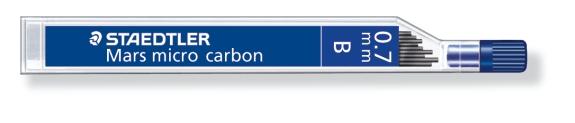 MINA MICRO CARBÓN DE 0.3 0.5 0.7 Y 0.9 mm (12 unidades) ST25007B B GRUESO DE MINA 0.7 mm