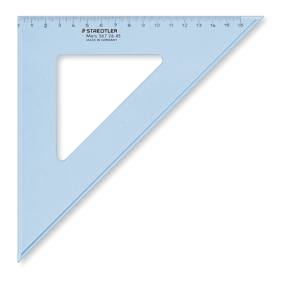 ESCUADRAS DE PLÁSTICO TRANSPARENTE AZUL ST567-26-45 26 cm