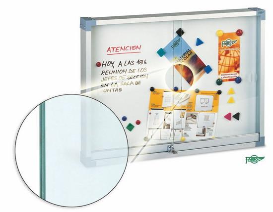 VITRINA PARA ANUNCIOS BLANCA 624-1 Blanca magnética 60x80 cm Puertas Cristal