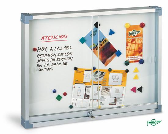 VITRINA PARA ANUNCIOS BLANCA 634-1 Blanca magnética 60x80 cm Puertas Metacrilato