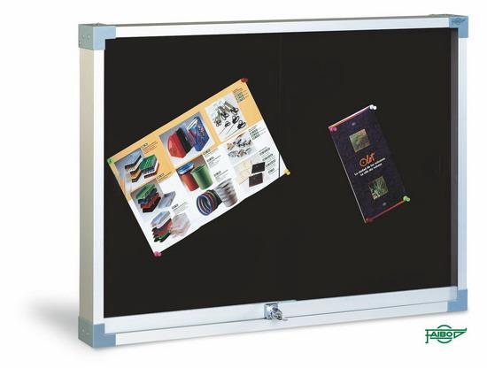 VITRINA PARA ANUNCIOS TAPIZADA 604T-TN-1 Negro Tapizada 60x80 cm Puertas Cristal