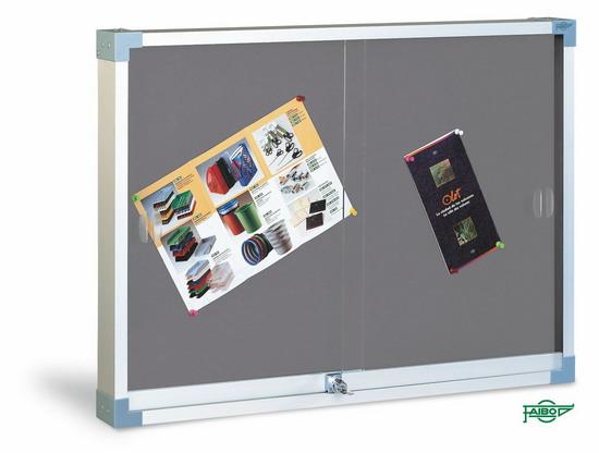 VITRINA PARA ANUNCIOS TAPIZADA 604T-TG-1 Gris Tapizada 60x80 cm Puertas Cristal