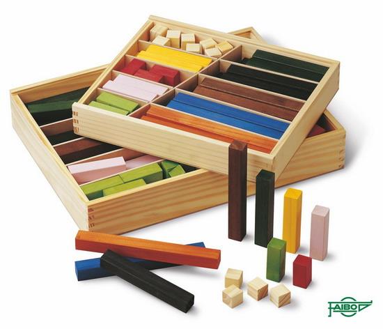 REGLETAS DE COLORES FA49 2x2 cm Caja de madera 60 piezas