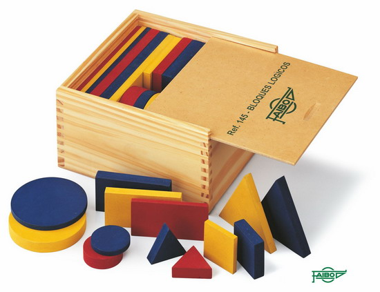 BLOQUES LÓGICOS FIGURAS FA145 Grande 48 piezas. Círculo de 80 mm. Madera Caja de madera