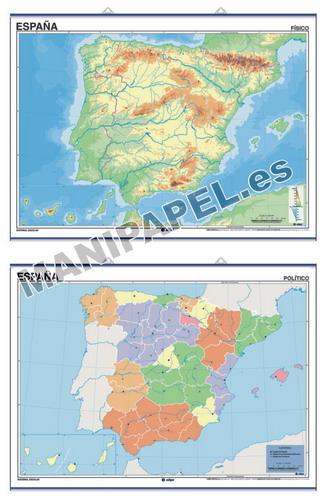 MAPAS MURALES MUDOS FÍSICO / POLÍTICO ED-1300 España