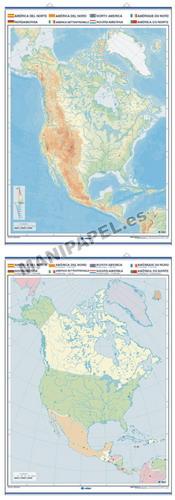 MAPAS MURALES MUDOS FÍSICO / POLÍTICO ED-1301 América del Norte