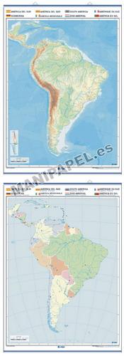 MAPAS MURALES MUDOS FÍSICO / POLÍTICO ED-1302 América del Sur