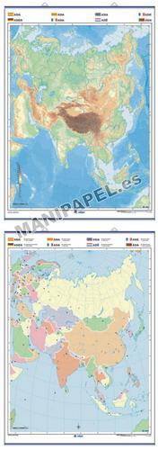 MAPAS MURALES MUDOS FÍSICO / POLÍTICO ED-1307 Asia