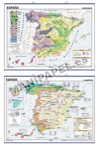 MAPAS MURALES ESPAÑA Y AUTONÓMICOS ED-1313 Climático España Geológico