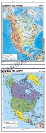 MAPAS MURALES FÍSICO / POLÍTICO ED-405 América del Norte