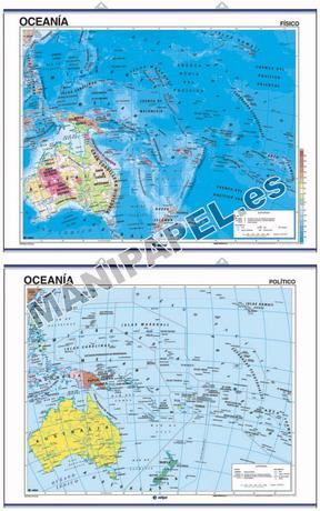 MAPAS MURALES FÍSICO / POLÍTICO ED-407 Oceanía