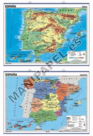 MAPAS MURALES ESPAÑA Y AUTONÓMICOS ED-412 Físico / Político España