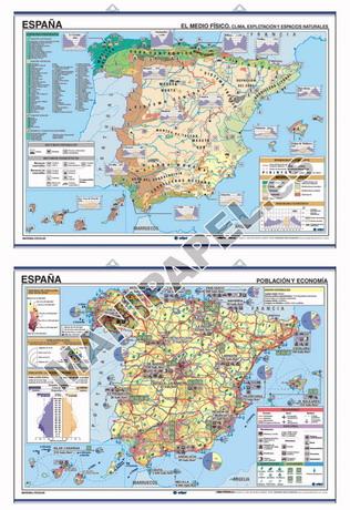 MAPAS MURALES ESPAÑA Y AUTONÓMICOS ED-413 Reg.Naturales-Climatología / Economía-Población España Temático