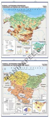 MAPAS MURALES ESPAÑA Y AUTONÓMICOS ED-415 Físico - Político / Económico Euskadi (Euskera)