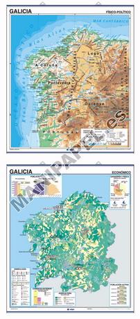 MAPAS MURALES ESPAÑA Y AUTONÓMICOS ED-416 Físico - Político / Económico Galicia (Galego)