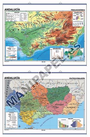 MAPAS MURALES ESPAÑA Y AUTONÓMICOS ED-417 Físico - Político / Económico Andalucía