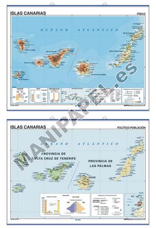 MAPAS MURALES ESPAÑA Y AUTONÓMICOS ED-418 Físico / Político Islas Canarias