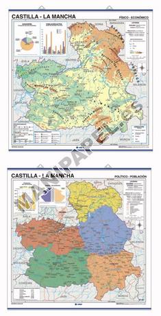 MAPAS MURALES ESPAÑA Y AUTONÓMICOS ED-420 Físico - Político / Económico Castilla - La Mancha