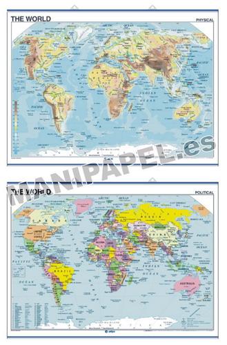 MAPAS MURALES EN INGLÉS FÍSICO / POLÍTICO ED-421 Físico / Político The World
