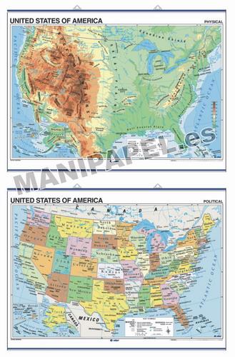 MAPAS MURALES EN INGLÉS FÍSICO / POLÍTICO ED-422 Físico / Político United States