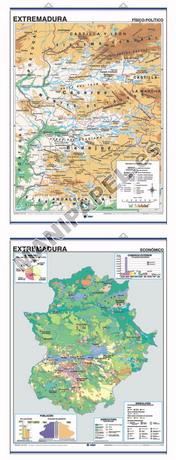 MAPAS MURALES ESPAÑA Y AUTONÓMICOS ED-423 Físico - Político / Económico Extremadura