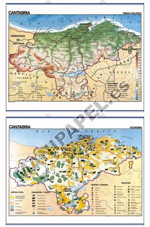MAPAS MURALES ESPAÑA Y AUTONÓMICOS ED-426 Físico - Político / Económico Cantabria