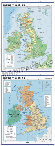 MAPAS MURALES EN INGLÉS FÍSICO / POLÍTICO ED-427 Físico / Político British Isles
