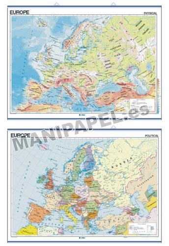 MAPAS MURALES EN INGLÉS FÍSICO / POLÍTICO ED-429 Físico / Político Europe