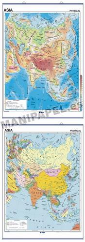 MAPAS MURALES EN INGLÉS FÍSICO / POLÍTICO ED-430 Físico / Político Asia