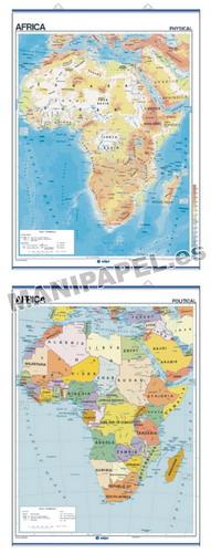 MAPAS MURALES EN INGLÉS FÍSICO / POLÍTICO ED-431 Físico / Político Africa