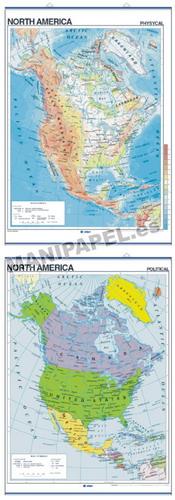 MAPAS MURALES EN INGLÉS FÍSICO / POLÍTICO ED-432 Físico / Político North America
