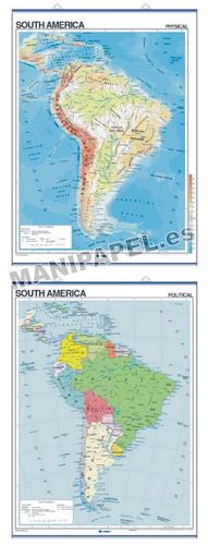 MAPAS MURALES EN INGLÉS FÍSICO / POLÍTICO ED-433 Físico / Político South America
