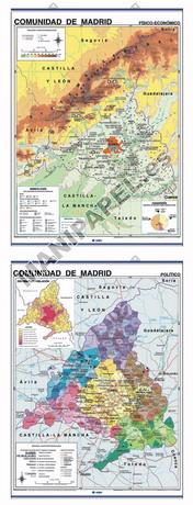 MAPAS MURALES ESPAÑA Y AUTONÓMICOS ED-438 Físico - Económico / Político Comunidad de Madrid