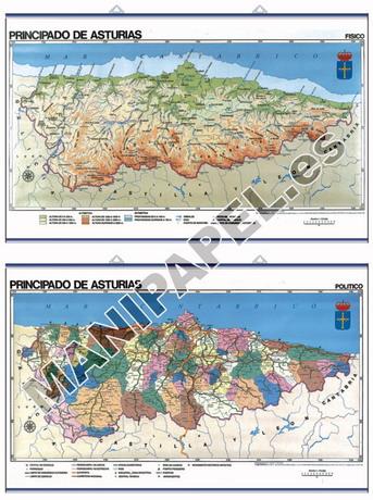 MAPAS MURALES ESPAÑA Y AUTONÓMICOS ED-439 Físico - Político / Económico Asturias