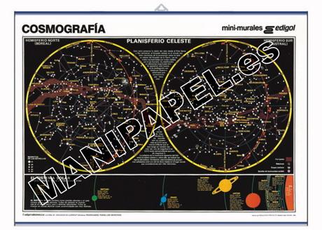 LÁMINAS DE NATURALEZA CASTELLANO ED-453 50 x 35 cm. Cosmografía, Hemisferio Boreal y Austral