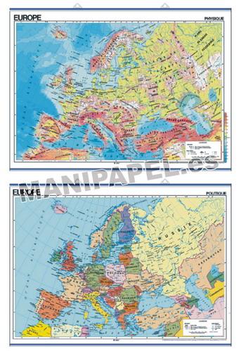 MAPAS MURALES EN FRANCÉS FÍSICO / POLÍTICO ED-469 Físico / Político Europe