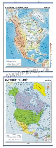 MAPAS MURALES EN FRANCÉS FÍSICO / POLÍTICO ED-474 Físico / Político Amérique du Nord