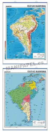 MAPAS MURALES EN FRANCÉS FÍSICO / POLÍTICO ED-475 Físico / Político Amérique du Sud