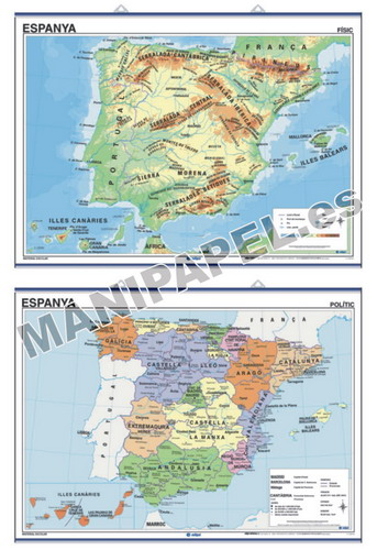 MAPAS MURALES EN CATALÁN FÍSICO / POLÍTICO ED-499 Espanya