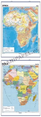 MAPAS MURALES EN CATALÁN FÍSICO / POLÍTICO ED-502 África