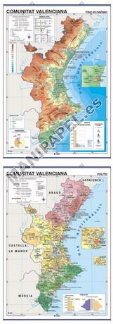 MAPAS MURALES ESPAÑA Y AUTONÓMICOS ED-513 Físico / Político Comunitat Valenciana (Català)