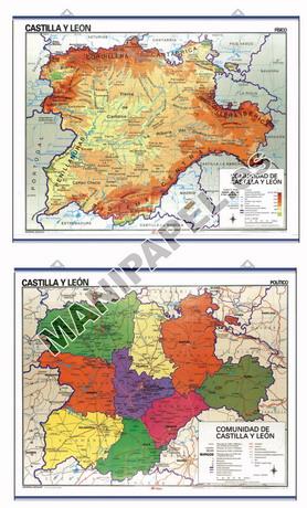 MAPAS MURALES ESPAÑA Y AUTONÓMICOS ED-541 Físico / Político Castilla y León