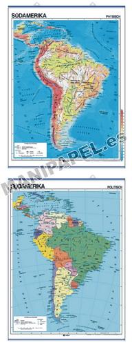 MAPAS MURALES EN ALEMÁN FÍSICO / POLÍTICO ED-597 Físico / Político Südamerika