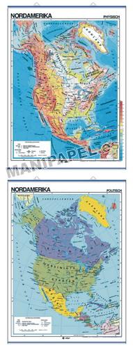 MAPAS MURALES EN ALEMÁN FÍSICO / POLÍTICO ED-598 Físico / Político Nordamerika