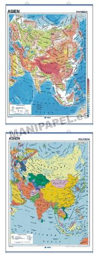 MAPAS MURALES EN ALEMÁN FÍSICO / POLÍTICO ED-600 Físico / Político Asien